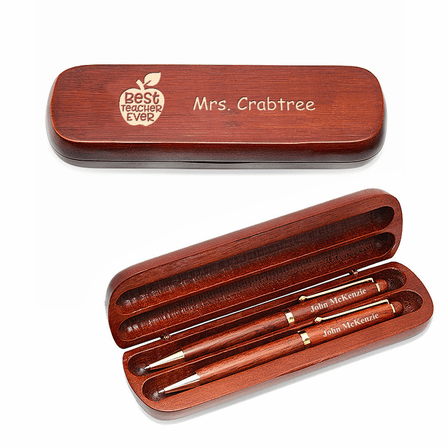 Best Teacher Ever  Cherrywood Double Pen and Box Set