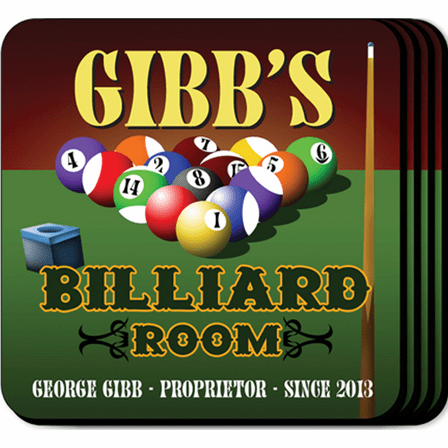 Billiards Room Coaster Set - Free Personalization