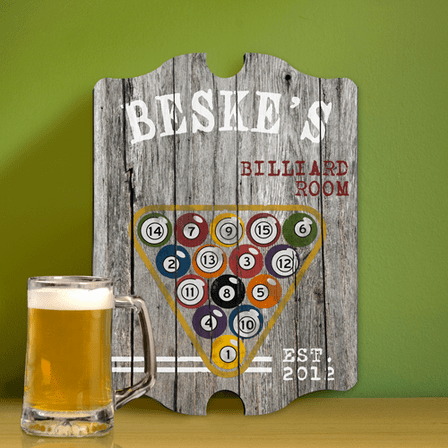 Billiards Vintage Man Cave Sign - Free Personalization
