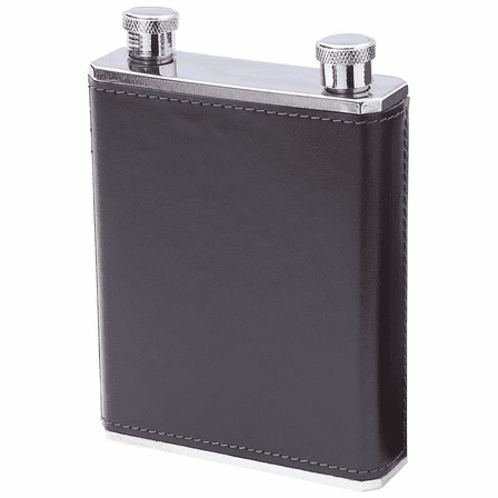 Black & Brown Faux Leather Wrap Dual Flask