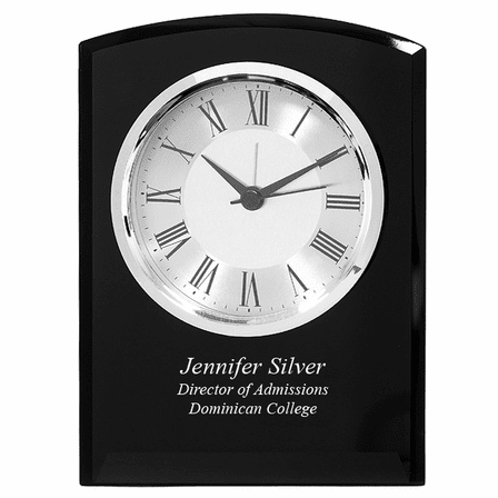 Black Glass Personalized Dome Desk Clock