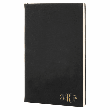 Black & Gold Journal with Black Satin Bookmark with Script Monogram