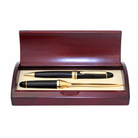 Black Lacquer & Brass Pen and Letter Opener Set