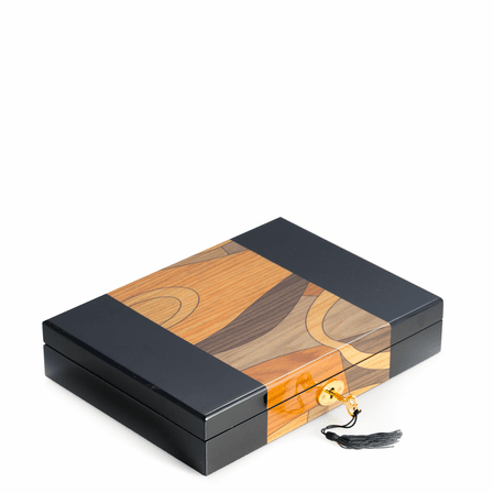Black Lacquered Wood Cufflinks & Accessories Box
