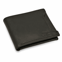 Black Leather Bifold Wallet With Front Slot