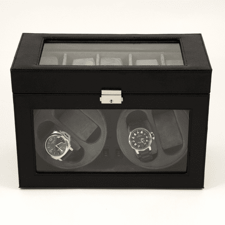 Black Leather Four Watch Winder & Display Case