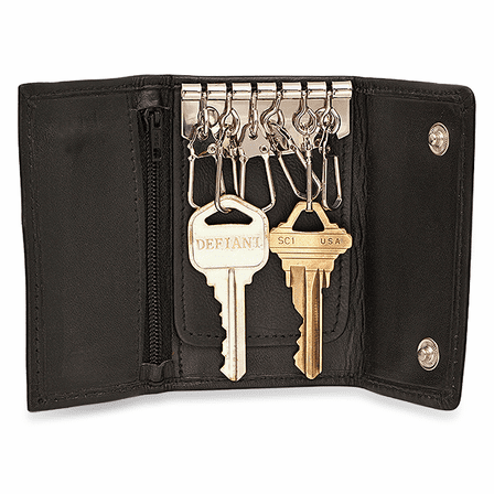 Black Leather Trifold Key Holder Wallet With Dual Change Pouches