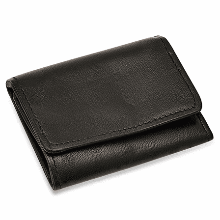 Black Leather Trifold Key Holder Wallet With Snap Change Pouch