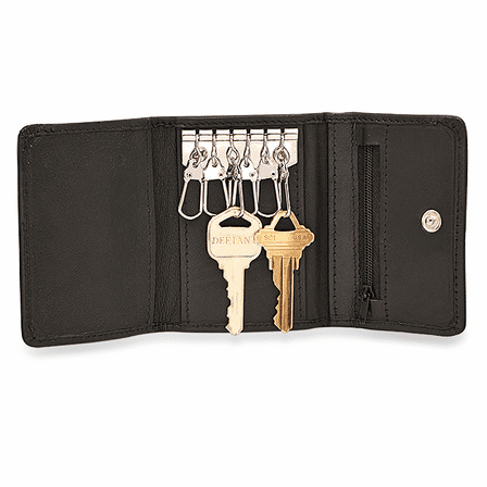 Black Leather Trifold Key Holder Wallet With Zipper Change Pouch