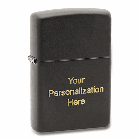 Black Matte Engravable Zippo Lighter - Free Engraving - ID# 218