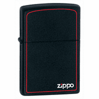 Black Matte with Zippo & Border Zippo Lighter - ID# 218ZB