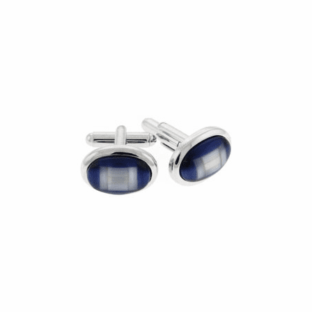 Black Oval Cab Pixel Collection Cufflinks by Tateossian