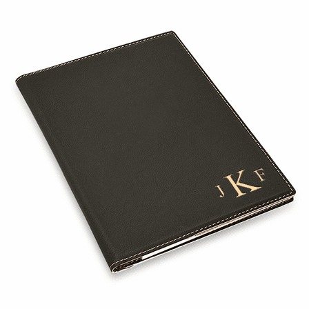 Black Portfolio & Notebook with Roman Monogram