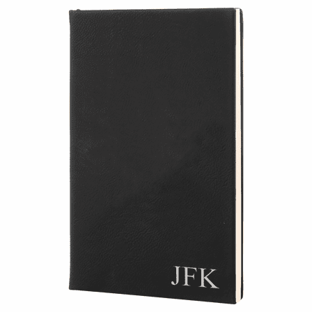 Black & Silver Journal with Black Satin Bookmark with Personalized Initials