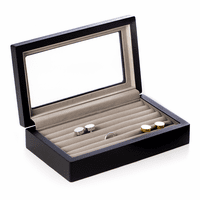 Black Wood Cufflinks Box