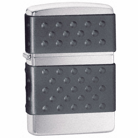 Black Zip Guard Brushed Chrome Zippo Lighter - Discontinued