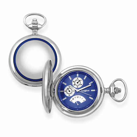 Blue Bordered Satin Steel  Quartz  Pocket Watch - Discontinued