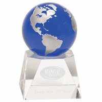 Blue Crystal Globe With Personalized Pedestal Base