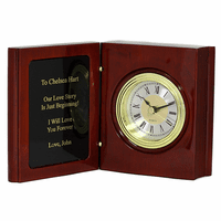 Book Of Life Personalized Rosewood Desk Clock