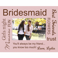 "Bridesmaid's Personalized 4"" x 6"" Picture Frame"