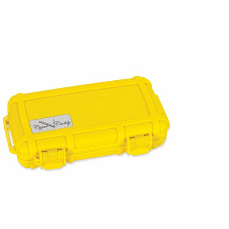 Bright Yellow Five Cigar Caddy Travel Humidor