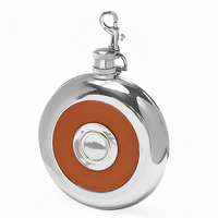 Brown Leather Round Flask with Shot Cup