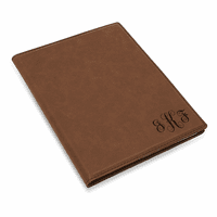 Brown Small Portfolio & Notebook with Script Monogram