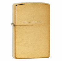 Brushed Brass with Solid Brass Engraved Zippo Lighter - ID# 204