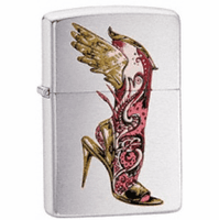 BS Mehindi Brushed Chrome Zippo Lighter - ID# 24516 - Discontinued