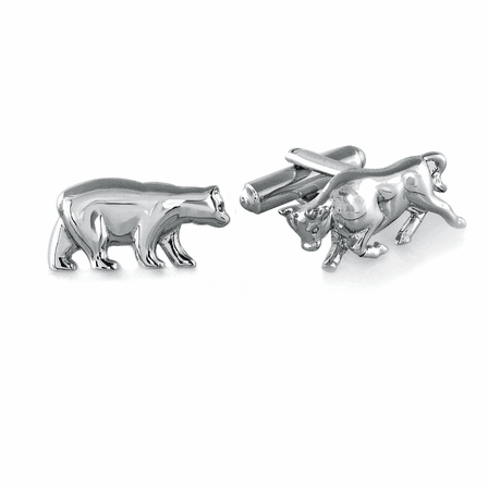 Bull & Bear Sterling Silver Cufflinks