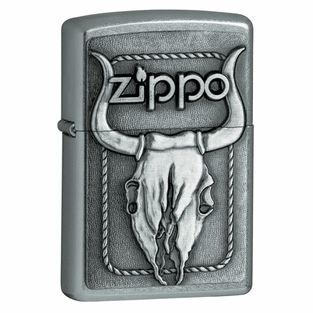 Bull Skull Emblem Street Chrome Zippo Lighter  - ID# 20286 - discontinued