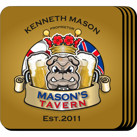 Bulldog Tavern Coaster Set - Free Personalization