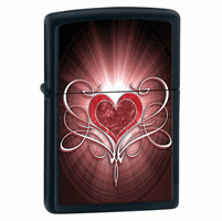 Bursting Heart Black Matte Zippo Lighter - ID# 28043 - Discontinued