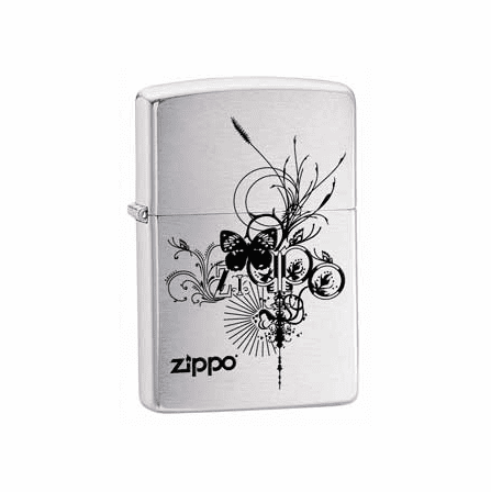 Butterfly Brushed Chrome Zippo Lighter - ID# 24800 - Discontinued