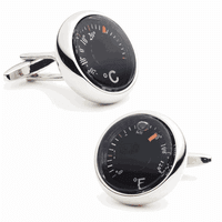 Capsule Thermometer Rhodium Plated  Cufflinks - Discontinued