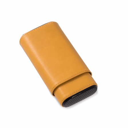 Carbon  Fiber  &  Yellow  Leather  Cigar  Holder