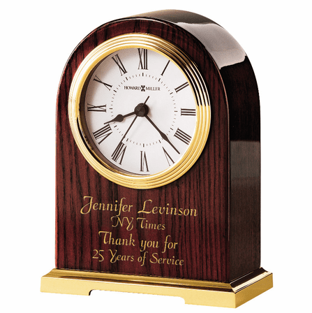 Carter Brass & Rosewood Table Clock by Howard Miller