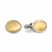 Cat's Eyes Sterling Silver & 14 Karat Gold Cufflinks - Discontinued