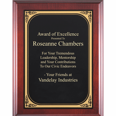 Cherry Plaque With  Black & Gold Engraving Plate - CB106