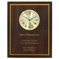 Cherry Wood Recognition Wall Plaque with Clock