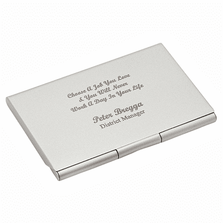 Choose A Job You Love Engraved Business Card Holder