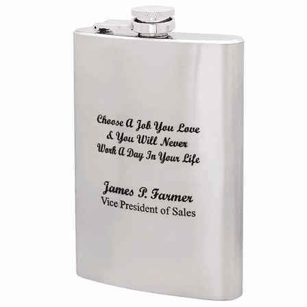 Choose A Job You Love Engraved Flask