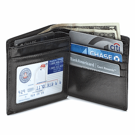 Classic Leather Bifold Wallet with ID Flap