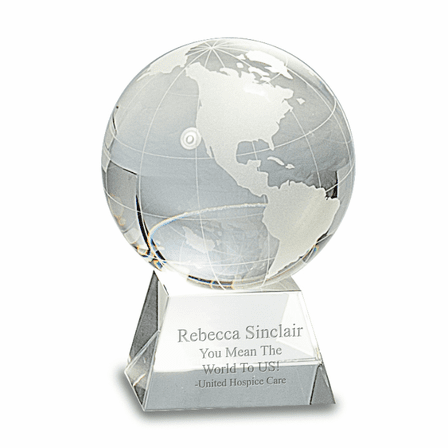 Clear Crystal Globe With Personalized Pedestal Base