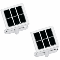 Phantom Collection Rubber with Diamond Cut Lines Silver Tone Cufflinks