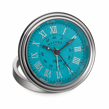 Clipper Travel Alarm Clock by Dalvey - Turquoise