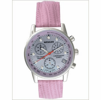 Commando Chrono Silver Face Pink Leather Strap Women's Watch by Wenger