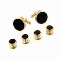 Concentric Edge Gold Plated Onyx Cufflinks & Studs Set