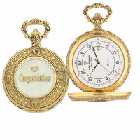 """Congratulations"" Themed Quartz Pocket Watch with Matching Chain by Jules Jurgensen"