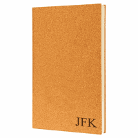 Cork Journal with Black Satin Bookmark with Personalized Initials